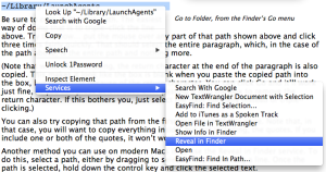 Services -> Reveal in Finder
